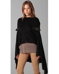 Foley + Corinna Black Knit Poncho with Leather Buckles