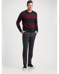 GANT | Blue Striped Shetland Sweater for Men | Lyst