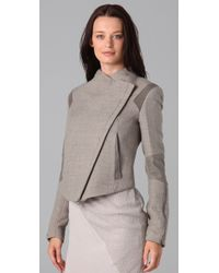 Helmut Lang | Gray Strata Cropped Wool and Suede Insert Jacket | Lyst