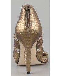 Kors by Michael Kors - Metallic Rhonda Open Toe Heels - Lyst