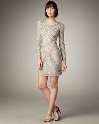 Naeem Khan Metallic Long-sleeve Beaded Shift Dress