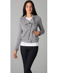 Splendid - Gray Mock Twist Moto Jacket - Lyst