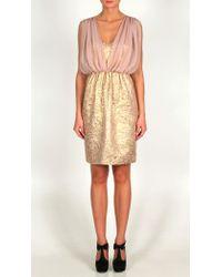 Tibi Pink Metallic Damask Jacquard & Chiffon Dress