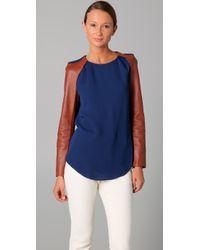 3.1 Phillip Lim | Blue Raglan Leather Sleeve Top | Lyst