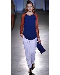 3.1 Phillip Lim - Blue Raglan Leather Sleeve Top - Lyst