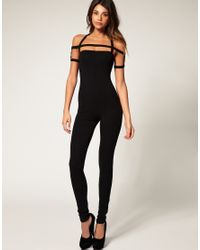 ASOS Collection | Black Asos Deco Strap Unitard | Lyst
