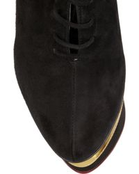 Charlotte Olympia   Black Martha in Stripes Suede and Leather Wedges   Lyst