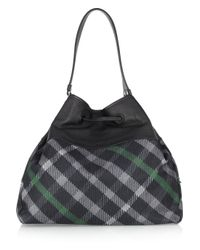 Daks Blue Checked Coated-canvas Tote