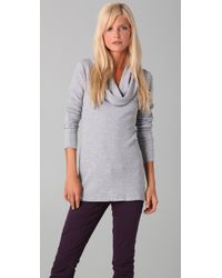 Splendid | Gray Thermal Cowl Neck Tunic | Lyst