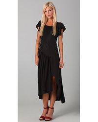 The Addison Story | Black Tee Dress with Leather Trim | Lyst