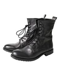 H by Hudson Black Westland Military Boots for men