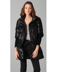 RED Valentino | Black Puffer Jacket with Tulle Overlay | Lyst