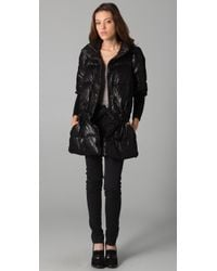 RED Valentino - Black Puffer Jacket with Tulle Overlay - Lyst