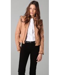 RED Valentino | Natural Ruffle Leather Jacket | Lyst