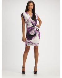 Robert Rodriguez   Purple Clematis-print Faux-wrap Dress   Lyst