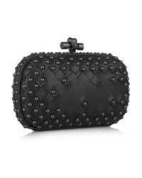 Bottega Veneta Black Waxy Studded Intrecciato Leather Box Clutch