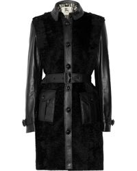 Burberry | Black Shearling and Leather Coat | Lyst