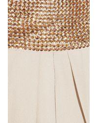 Chloé Natural Embellished Silk Crepe De Chine Dress
