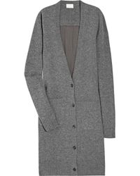CLU | Gray Satin-paneled Wool-blend Cardigan | Lyst