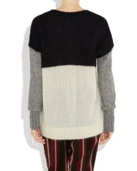 JOSEPH Black Soft Mohair Block Colour Sweater
