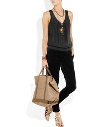 Juicy Couture Black Silk and Velour Jumpsuit