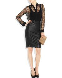 La Perla Black Embroidered Stretch-mesh Thong Bodysuit