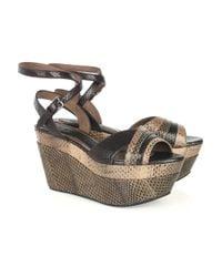 Marni | Brown Watersnake Wedge Sandals | Lyst