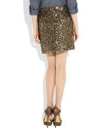 Vince Metallic Sequined Crepe Mini Skirt