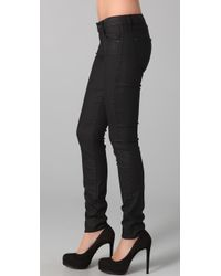 7 For All Mankind | Black Skytrooper Treated Skinny Jeans | Lyst