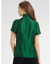 MILLY | Green Ruffled Silk Blouse | Lyst