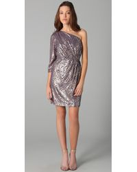 Shoshanna | Metallic One Shoulder Draped Dress | Lyst
