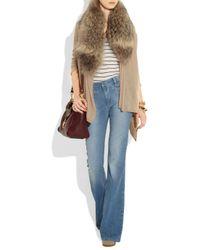 Alice + Olivia Natural Izzy Fur-collar Cardigan