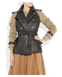 Burberry Brit Black Canvas-sleeve Leather Trenchcoat