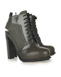 Alexander Wang Green Dakota Textured Leather Ankle Boots