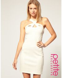 ASOS Collection - White Asos Petite Exclusive Strappy Zip Back Bodycon Dress - Lyst