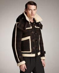 Burberry Prorsum | Brown Shearling-trim Check Blouson Jacket for Men | Lyst