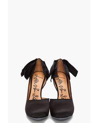 Lanvin   Black Bow-embellished Satin Pumps   Lyst
