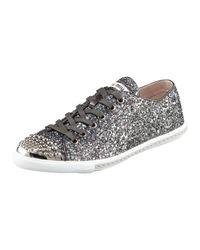 Miu Miu | Gray Glitter Sneaker | Lyst