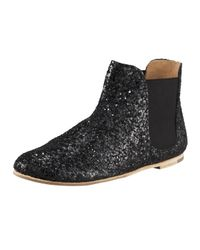 Pedro Garcia | Black Gwen Glitter-finish Leather Ankle Boots | Lyst