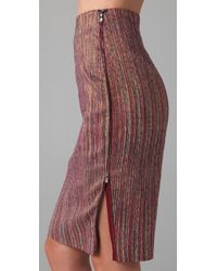 Rachel Roy - Pink Lurex Striped Pencil Skirt - Lyst