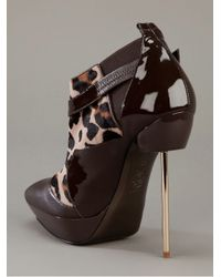 Versace   Brown Pony Skin Ankle Boot   Lyst