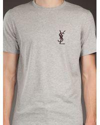 Saint Laurent Gray Logo T-shirt for men