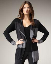 Adrienne Vittadini | Gray Open Colorblock Cardigan | Lyst