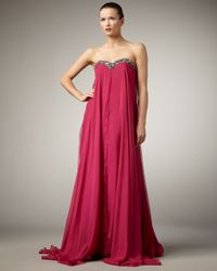Alberto Makali Pink Flowy Bead-top Strapless Gown