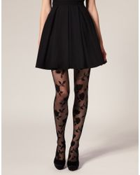 ASOS Collection | Black Asos Flocked Rose Tights | Lyst