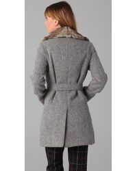 Boy by Band of Outsiders - Gray Fur Collar Trench Coat - Lyst