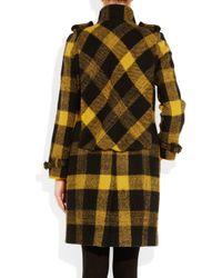 Burberry Prorsum Black Plaid Wool Coat