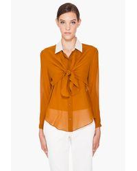 Carven - Orange Contrast Collar Blouse - Lyst