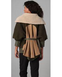 Cut25 by Yigal Azrouël Green Convertible Drape Back Coat