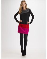 DKNY - Black Colorblock Wool Dress - Lyst